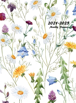 2021-2025 Monthly Planner Hardcover: Large Five Year Planner with Floral Cover Cover Image
