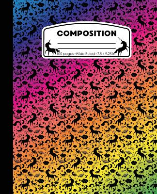 Composition: Unicorn Rainbow Marble Composition Notebook Wide Ruled 7.5 x 9.25 in, 100 pages book for girls, kids, school, students Cover Image