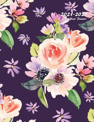 2021-2025 Five Year Planner: 60-Month Schedule Organizer 8.5 x 11 with Floral Cover (Volume 5) Cover Image