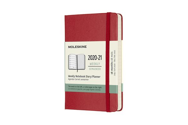 Moleskine 2020-21 Weekly Planner, 18M, Pocket, Scarlet Red, Hard Cover (3 x 5.5) Cover Image