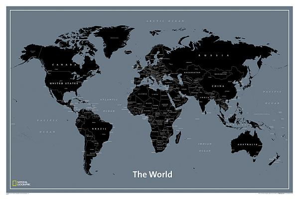 National Geographic: World Modernlaminated Wall Map (36 X 24 Inches) Cover Image