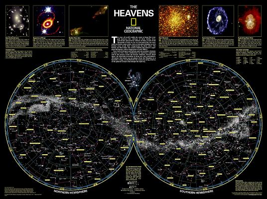 National Geographic: The Heavens Wall Map (30.5 X 22.75 Inches) (National Geographic Reference Map) Cover Image