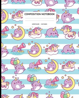 Composition Notebook: Narwhal and Unicorn Wide Ruled Composition Book Cover Image