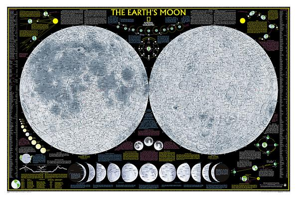 National Geographic: Earth's Moon Wall Map (42.5 X 28.5 Inches) (National Geographic Reference Map) Cover Image