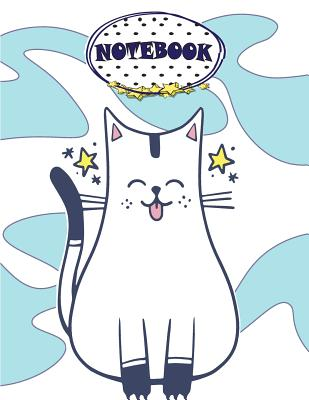 Notebook: White cat on blue cover and Dot Graph Line Sketch pages, Extra large (8.5 x 11) inches, 110 pages, White paper, Sketch Cover Image
