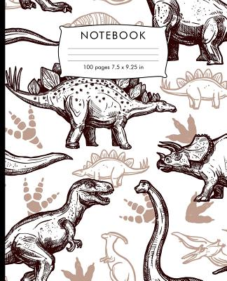 Notebook: Dinosaurs pattern Composition Notebook with Cursive Paper. 100 pages Cursive Paper Book 7.5 x 9.25 inches for practice Cover Image