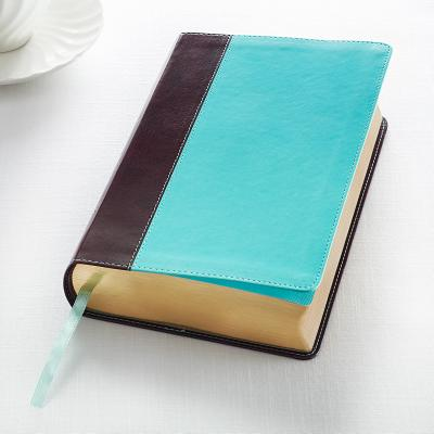 KJV Giant Print Lux-Leather Teal/Brown Cover Image