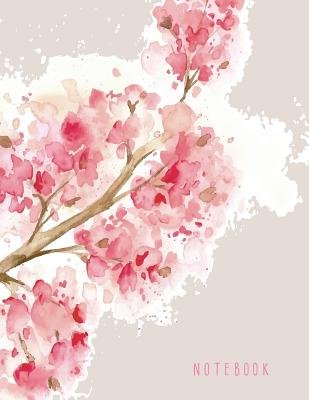 Notebook: Cherry blossom on grey cover and Dot Graph Line Sketch pages, Extra large (8.5 x 11) inches, 110 pages, White paper, S Cover Image