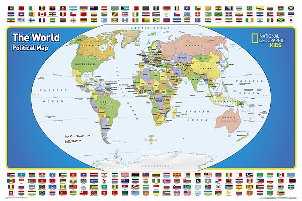 National Geographic: The World for Kids Wall Map - Laminated (36 X 24 Inches) Cover Image