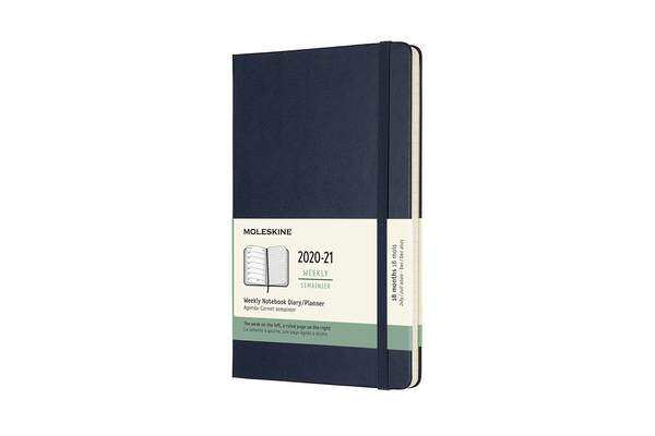 Moleskine 2020-21 Weekly Planner, 18M, Large, Sapphire Blue, Hard Cover (5 x 8.25) Cover Image