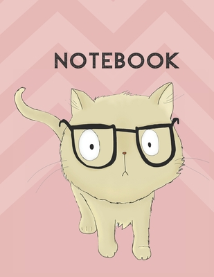 Low Vision Paper Notebook: Cat With Glasses Design: White Paper With Bold Thick Wide Lines: For Low Vision and Visually Impaired - 110 Pages - 8. Cover Image