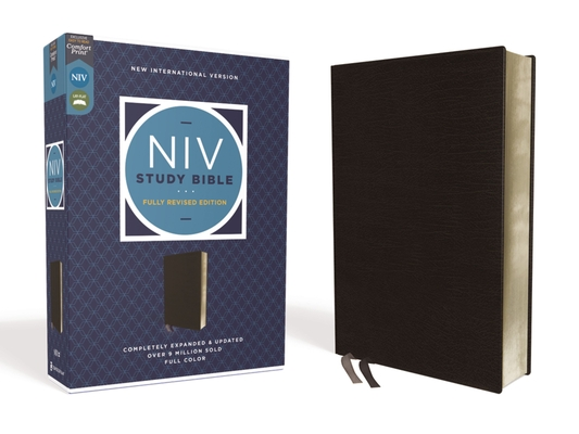 NIV Study Bible, Fully Revised Edition, Bonded Leather, Black, Red Letter, Comfort Print Cover Image