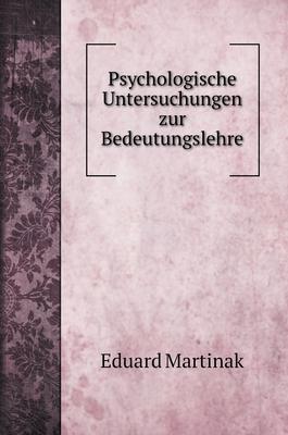 Psychologische Untersuchungen zur Bedeutungslehre Cover Image