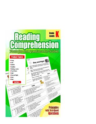 Reading Comprehension Passages and Questions: : Reading Comprehension Passages and Questions for Guided for Kindergarten Grade Cover Image