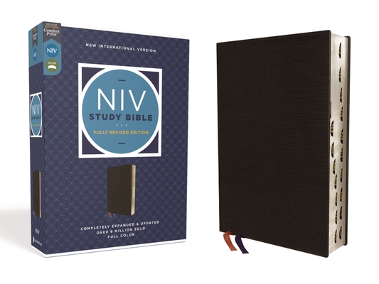 NIV Study Bible, Fully Revised Edition, Bonded Leather, Black, Red Letter, Thumb Indexed, Comfort Print Cover Image