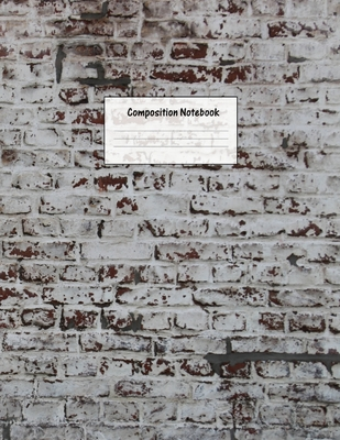 Composition Notebook: Wide Ruled Lined Paper: Large Size 8.5x11 Inches, 110 pages. Notebook Journal: Grey Red Bricks Workbook for Preschoole Cover Image