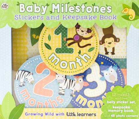 Baby Milestones Stickers and Keepsake Book: Growing Wild with Little Learners Cover Image