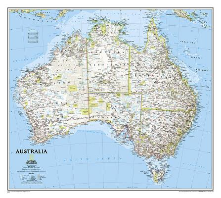 National Geographic: Australia Classic Wall Map (30.25 X 27 Inches) (National Geographic Reference Map) Cover Image