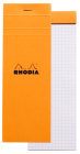 Rhodia Staplebound List Pad Graph 3 X 8 1/4 Orange Cover Notepad Cover Image