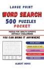 Word Search 500 Puzzles Pocket: Large Print 500 Puzzles Hard Level - Pocket You Can Bring It Anywhere Cover Image