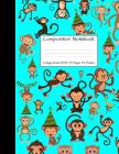 Composition Notebook College Ruled 8.5 inch x 11 inch: Monkey Party Monkeys Cute Composition Notebook, College Notebooks, Girl Boy School Notebook, Co Cover Image