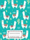 Composition Notebooks Wide Ruled: Composition Notebook Llamas & Cactus in Turquoise Cover: Wide Ruled Cute Notebook for Boys, Kids, Girls, Teens, Back Cover Image