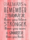 Always Remember You are Braver than you believe - Stronger than you seem & Smarter thank you think: Inspirational Journal - Notebook to Write In for W Cover Image