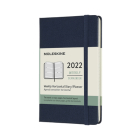 Moleskine 2022 Weekly Horizontal Planner, 12M, Pocket, Sapphire Blue, Hard Cover (3.5 x 5.5) Cover Image