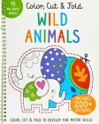 Color, Cut, and Fold: Wild Animals: (Lions, Tigers, Elephants, Art books for kids 4 - 8, Boys and Girls Coloring, Creativity and Fine Motor Skills, Kids Origami) (iSeek) Cover Image