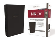 NKJV, Deluxe Reference Bible, Super Giant Print, Imitation Leather, Black, Red Letter Edition, Comfort Print Cover Image
