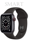 Smart: New Apple Watch Series 6 (GPS-Cellular, 44mm) - Space Gray Aluminum Case with Black Sport Band Cover Image