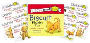 Biscuit 12-Book Phonics Fun!: Includes 12 Mini-Books Featuring Short and Long Vowel Sounds (My First I Can Read) Cover Image