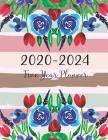 2020-2024 Five Year Planner: Flower Watercolor Cover - 5 Year Monthly Appointment Calendar with Holiday - 2020-2024 Five Year Schedule Organizer Ag Cover Image