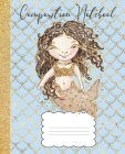 Composition Notebook: Mermaid Composition Notebook Glitter Design, Brown Hair Mermaid, 100 pages 7.5 x 9.25 Cover Image