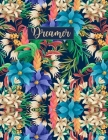 Dreamer: Wide Ruled Paper with BW flower frame illustrations on the margins 8.5 x 11 150 Pages, Perfect for School, Office and Cover Image