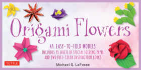 Origami Flowers Kit: 41 Easy-To-Fold Models - Includes 98 Sheets of Special Origami Paper (Kit with Two Origami Books of 41 Projects) Great Cover Image