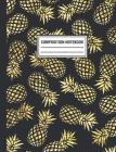 Composition Notebook: Navy Gold Pineapple Pattern Tropical Composition Book For Students College Ruled Cover Image