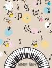 Musique Notes: Carnet de partitions vierge couleur Beige - papier manuscrit - 11 portées par page - pas de clef - 120 pages - grande Cover Image