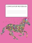Composition Notebook: Cute Mosaic Multicolored Unicorn Girls Elementary School Wide Ruled 120 Pages Cover Image