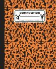 Composition: College Ruled Writing Notebook, Orange Cheerleading Cheer Pattern Marbled Blank Lined Book Cover Image