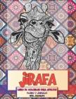 Libro de colorear para adultos - Nivel avanzado - Flores y animales - Jirafa Cover Image