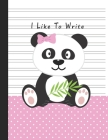 I Like To Write: Double Line Notebook For Kids - Pink Panda Cover Image