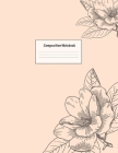 Composition Notebook: Wide Ruled Lined Paper: Large Size 8.5x11 Inches, 110 pages. Notebook Journal: Coral Grey Flowers Workbook for Prescho Cover Image