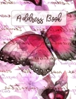 Address Book: Large Print - Pink Butterfly Design - Large Telephone Address Book for Seniors and Women ( 8.5 x 11 ) - Alphabetical T Cover Image