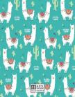 Notebook: Cute llama on green cover and Dot Graph Line Sketch pages, Extra large (8.5 x 11) inches, 110 pages, White paper, Sket Cover Image