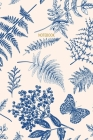 Notebook: Vintage Fern, Butterfly & Floral Pattern - Blue & Cream - Recycled Lined Blank Journal Cover Image
