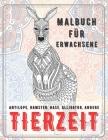 Tierzeit - Malbuch für Erwachsene - Antilope, Hamster, Hase, Alligator, andere Cover Image