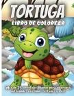 Tortuga Libro De Colorear: Un divertido libro para colorear de la vida marina para los niños Cover Image