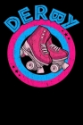 Roller Derby Notebook: Cool & Funky Roller Girl Derby Notebook - Hot Pink & Bright Blue - Curved Derby Text Cover Image