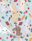 Notebook: Cute bunny on grey cover and Dot Graph Line Sketch pages, Extra large (8.5 x 11) inches, 110 pages, White paper, Sketc Cover Image